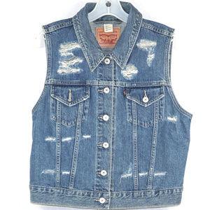 Levi's distressed vest EUC Lg
